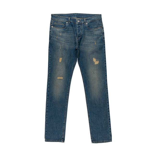 شلوار جین با پارچه سنگشور شده و زاپدار